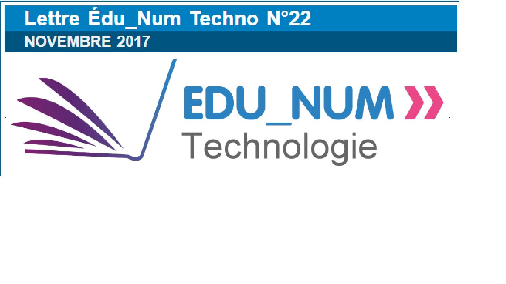 La lettre Edu_Num Technologie N°22